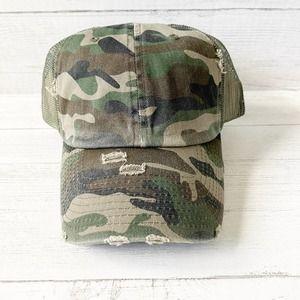 Distressed Camo Green Snapback Truckers Hat